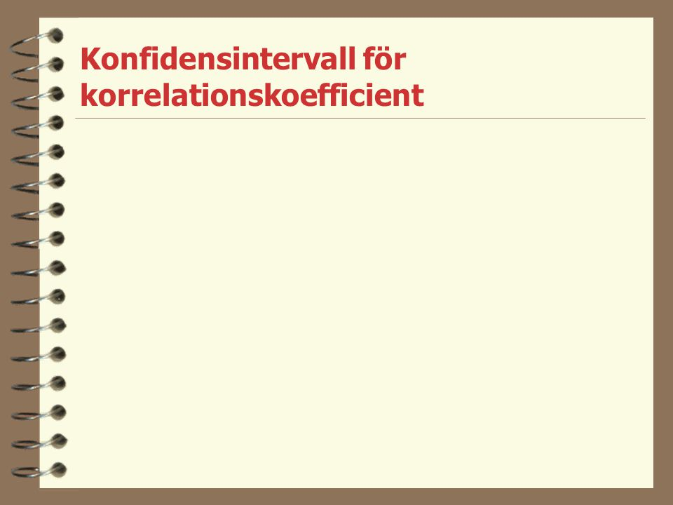 Konfidensintervall för korrelationskoefficient