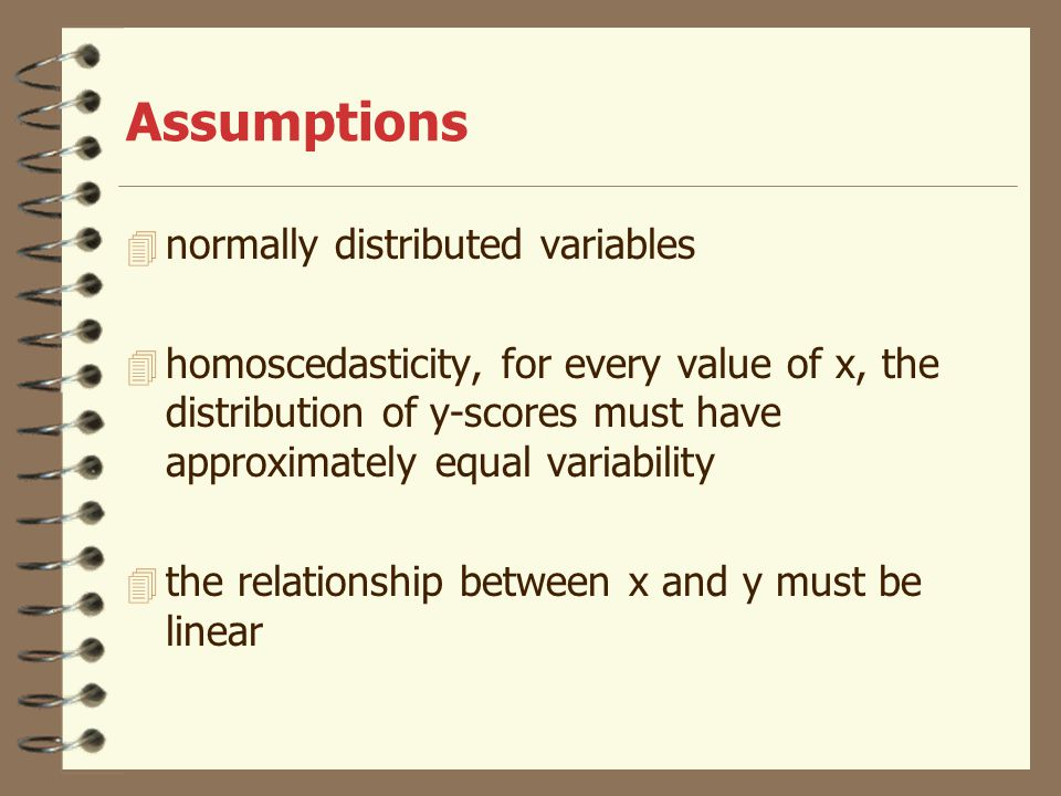 Assumptions normally distributed variables