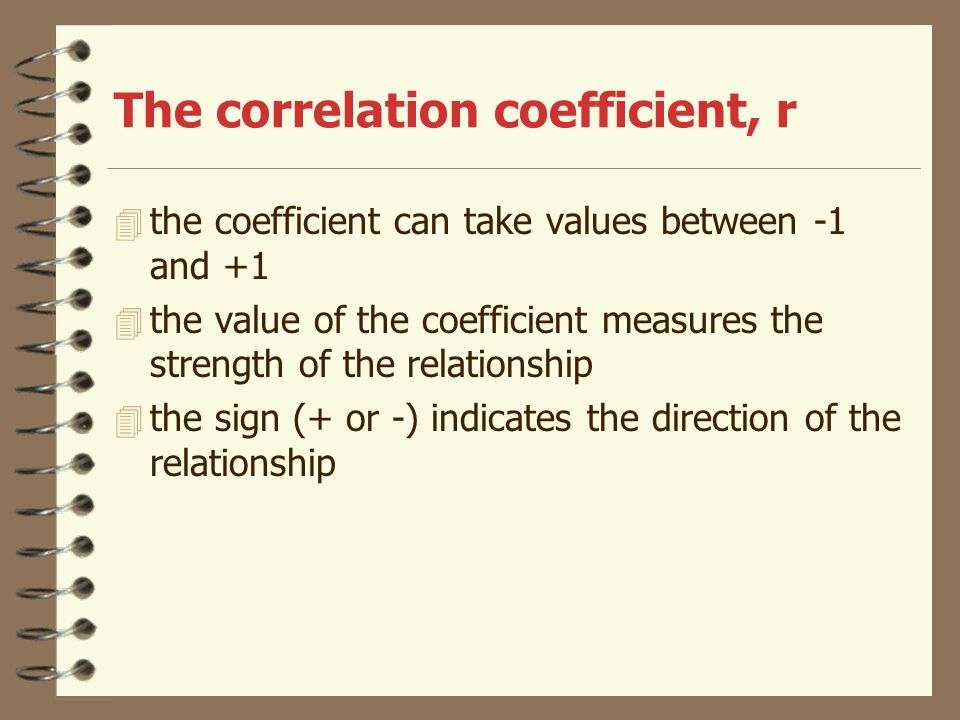 The correlation coefficient, r