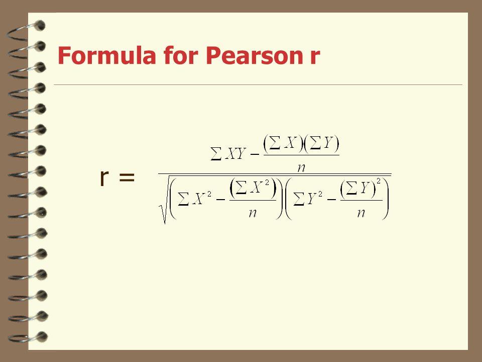 Formula for Pearson r r =
