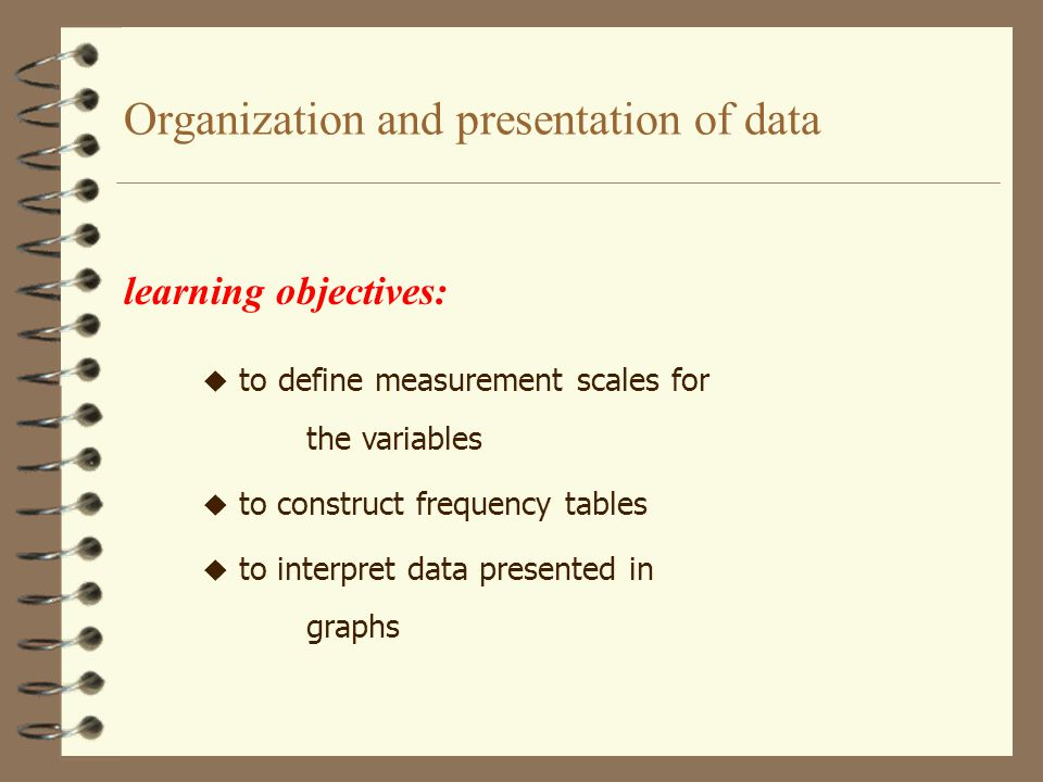Organization and presentation of data