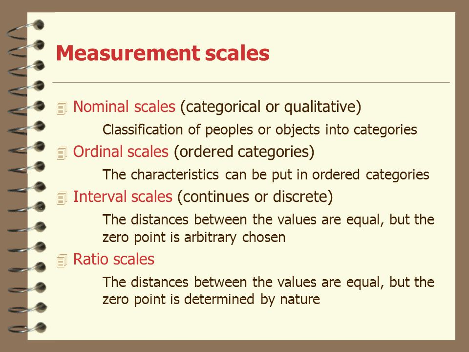 Measurement scales Nominal scales (categorical or qualitative)