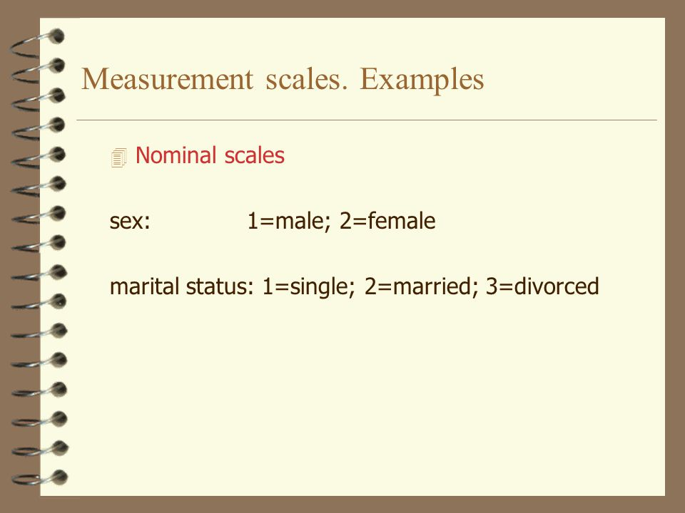 Measurement scales. Examples