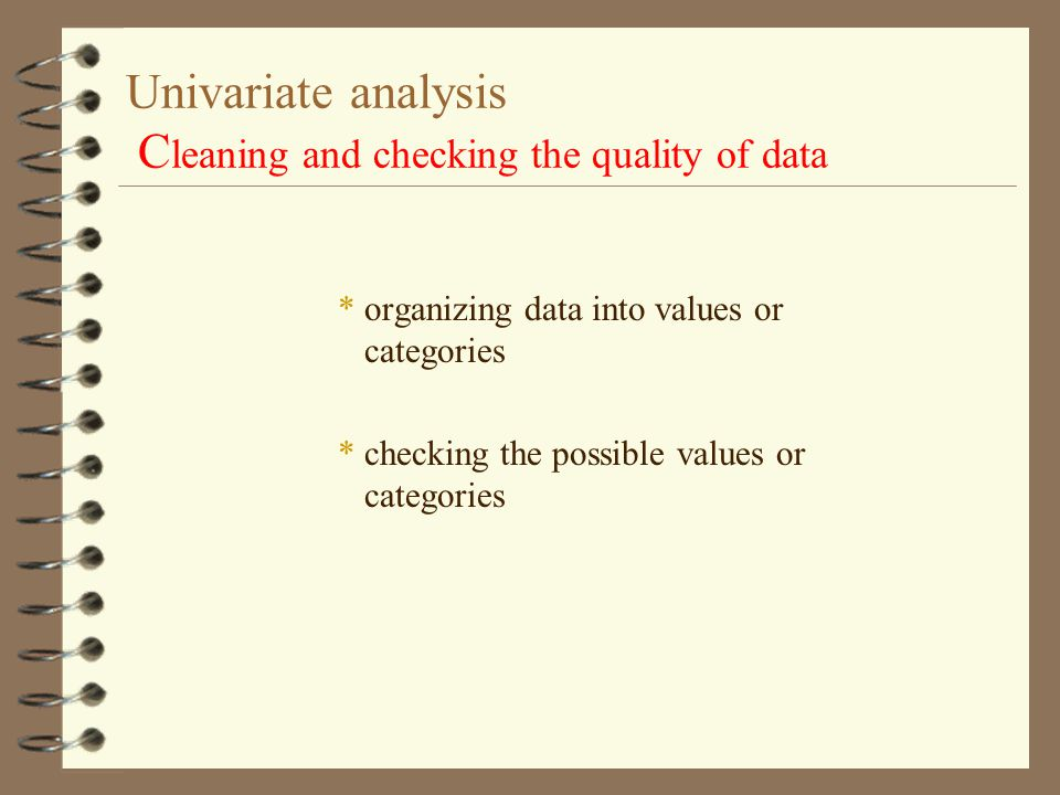 Univariate analysis Cleaning and checking the quality of data