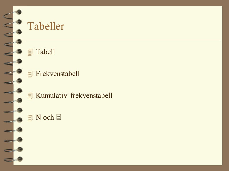 Tabeller Tabell Frekvenstabell Kumulativ frekvenstabell N och 