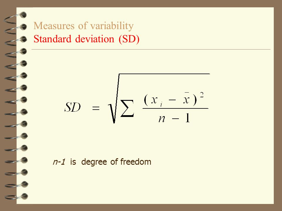 Measures of variability Standard deviation (SD)