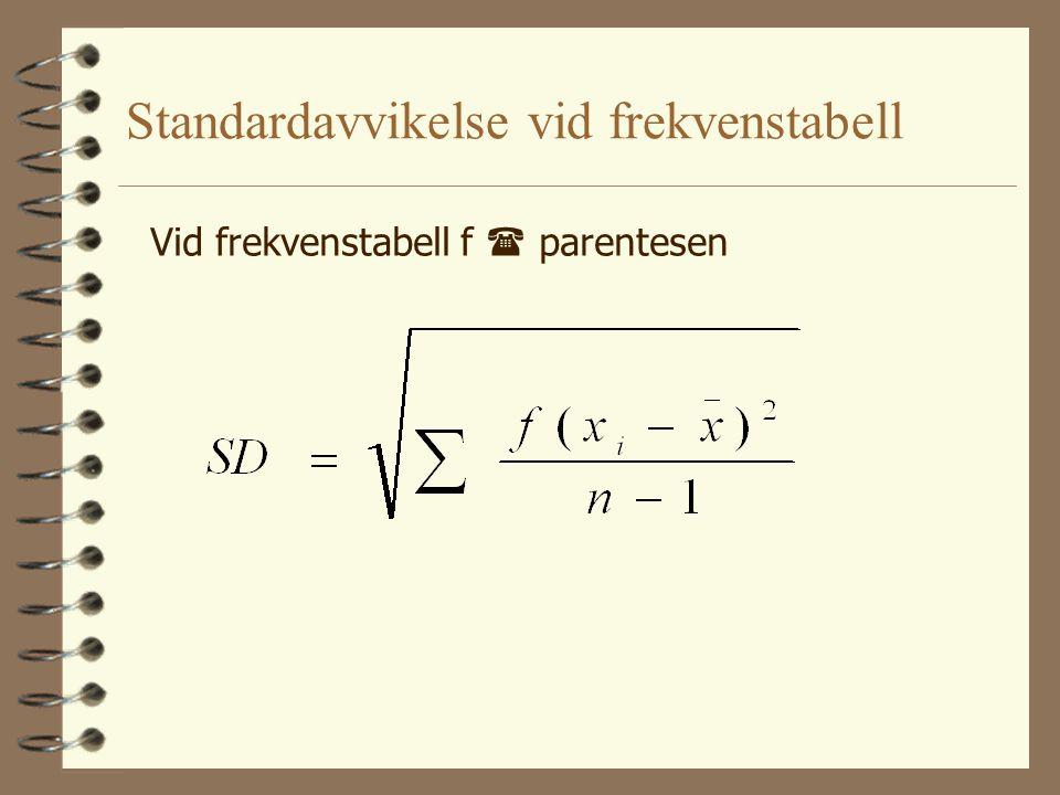Standardavvikelse vid frekvenstabell