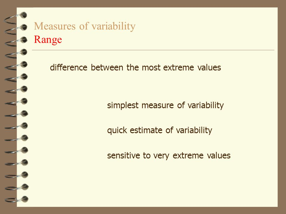 Measures of variability Range
