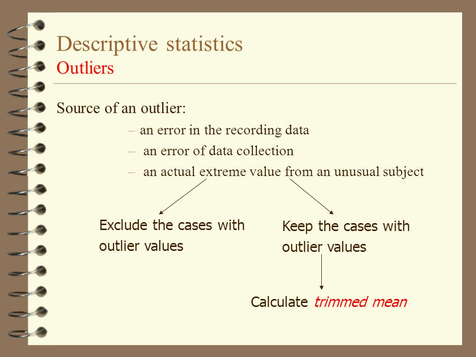 Descriptive statistics Outliers