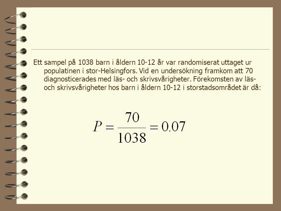 Ett sampel på 1038 barn i åldern 10-12 år var randomiserat uttaget ur populatinen i stor-Helsingfors.