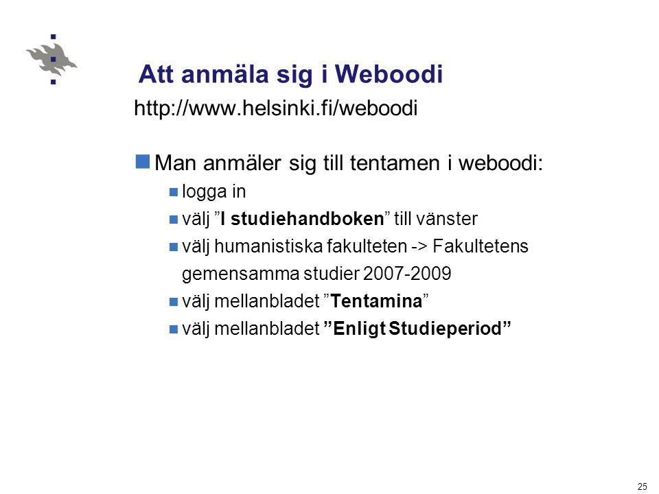 Att anmäla sig i Weboodi