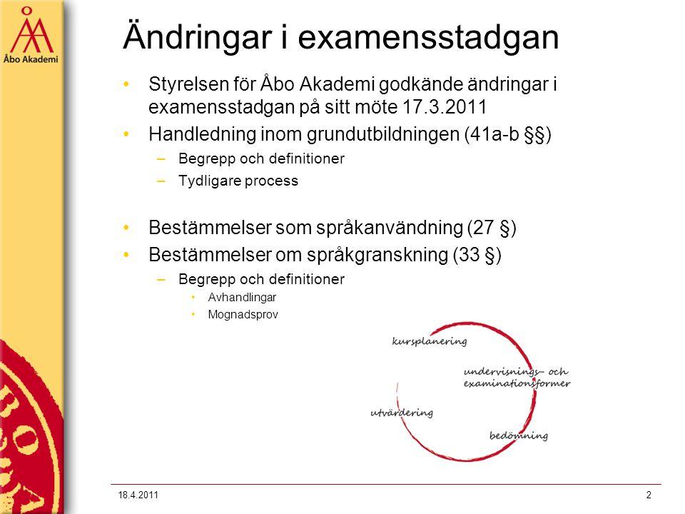 Ändringar i examensstadgan