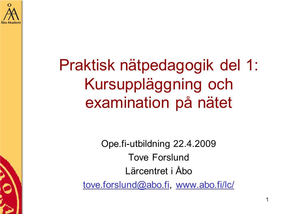 Praktisk nätpedagogik del 1: Kursuppläggning och examination på nätet