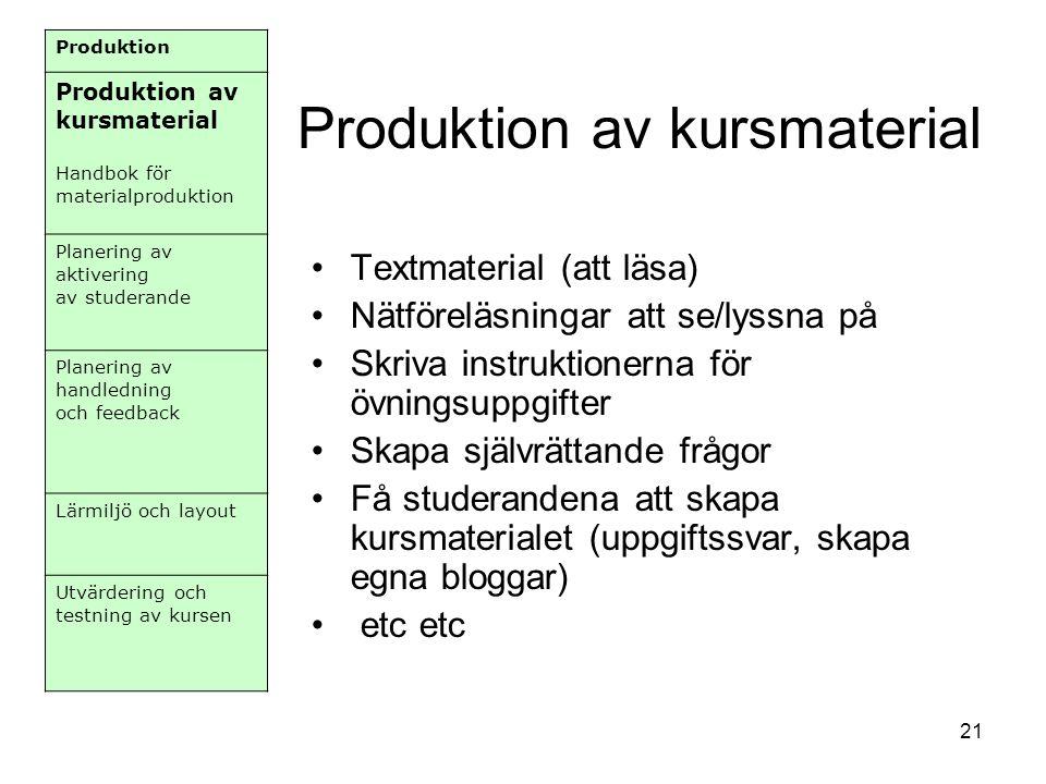 Produktion av kursmaterial