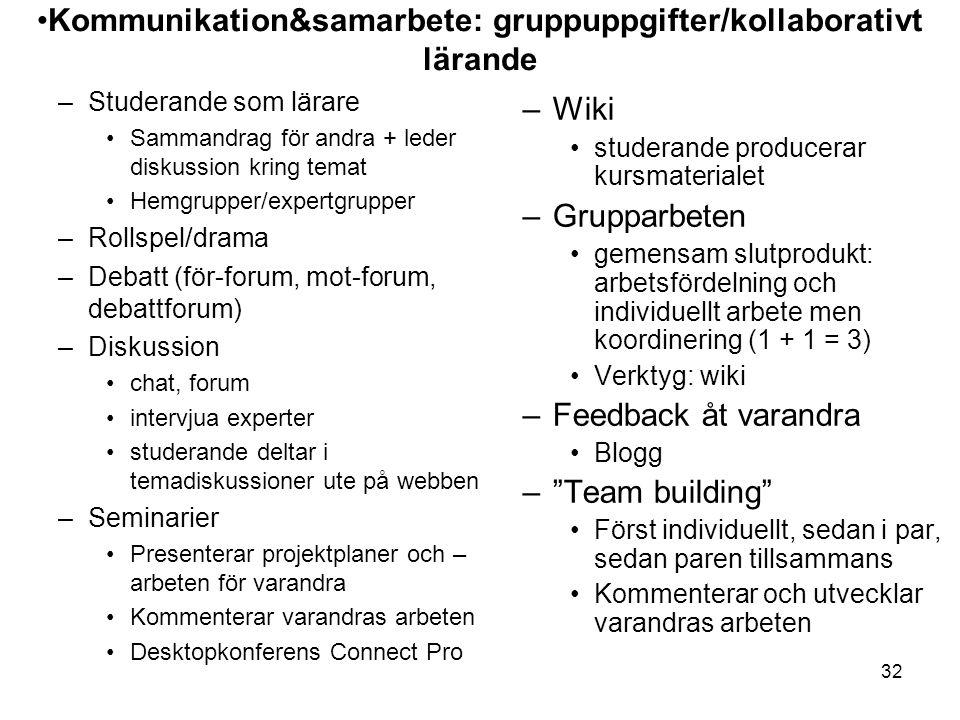 Kommunikation&samarbete: gruppuppgifter/kollaborativt lärande