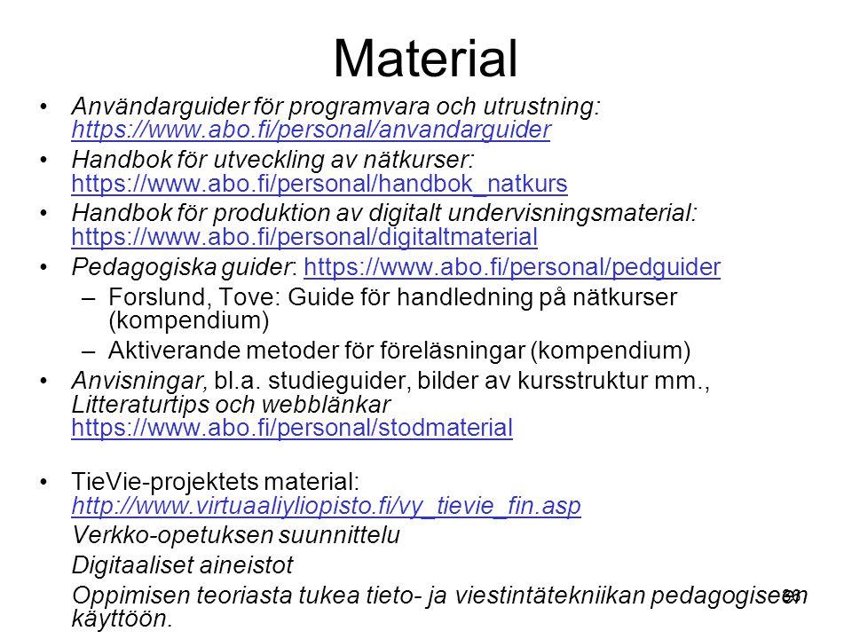 Material Användarguider för programvara och utrustning: https://www.abo.fi/personal/anvandarguider.