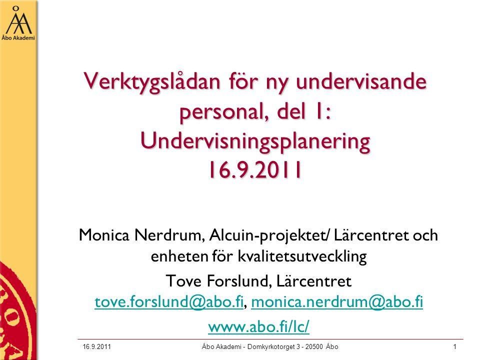 Verktygslådan för ny undervisande personal, del 1: Undervisningsplanering 16.9.2011