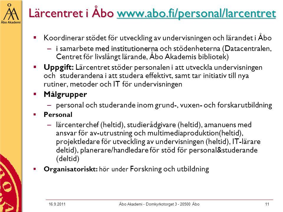 Lärcentret i Åbo www.abo.fi/personal/larcentret