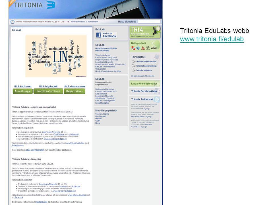 Tritonia EduLabs webb www.tritonia.fi/edulab
