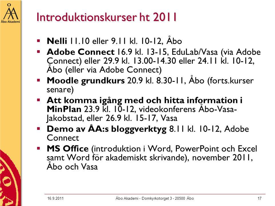 Introduktionskurser ht 2011