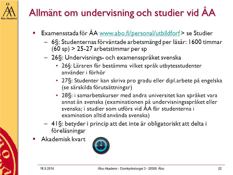 Allmänt om undervisning och studier vid ÅA
