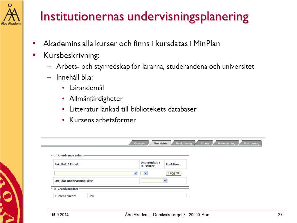 Institutionernas undervisningsplanering