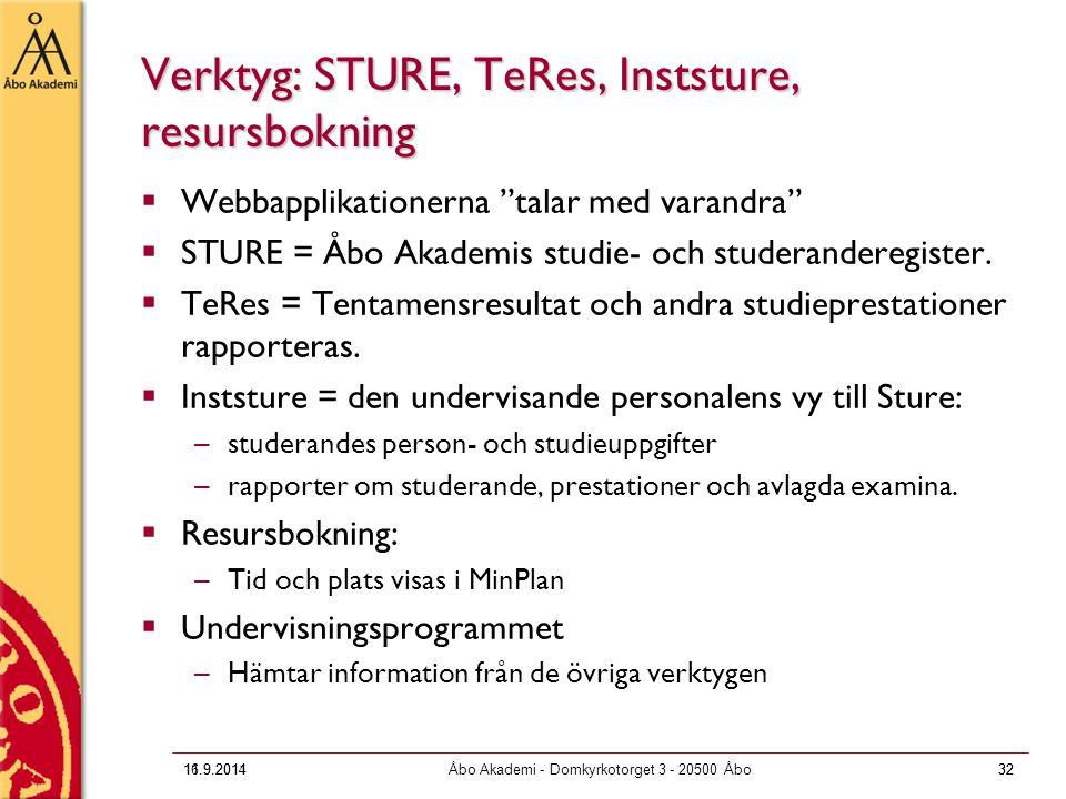Verktyg: STURE, TeRes, Inststure, resursbokning