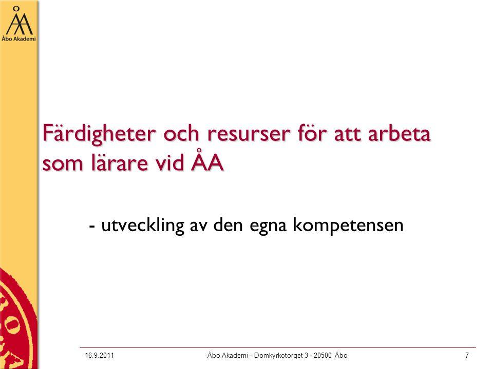 Färdigheter och resurser för att arbeta som lärare vid ÅA