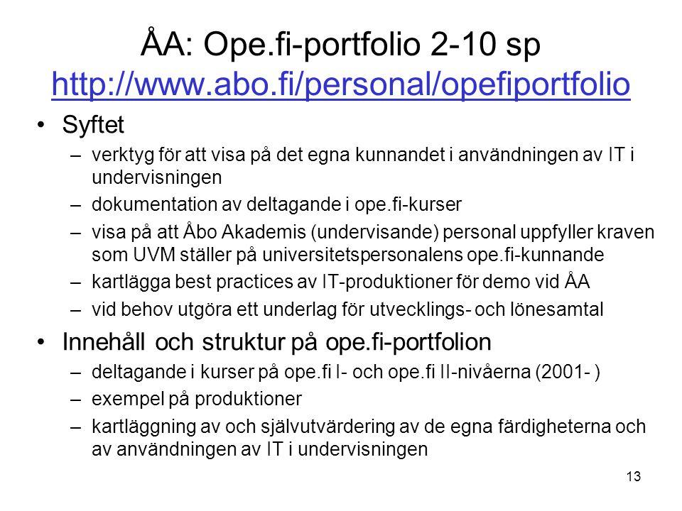 ÅA: Ope.fi-portfolio 2-10 sp http://www.abo.fi/personal/opefiportfolio