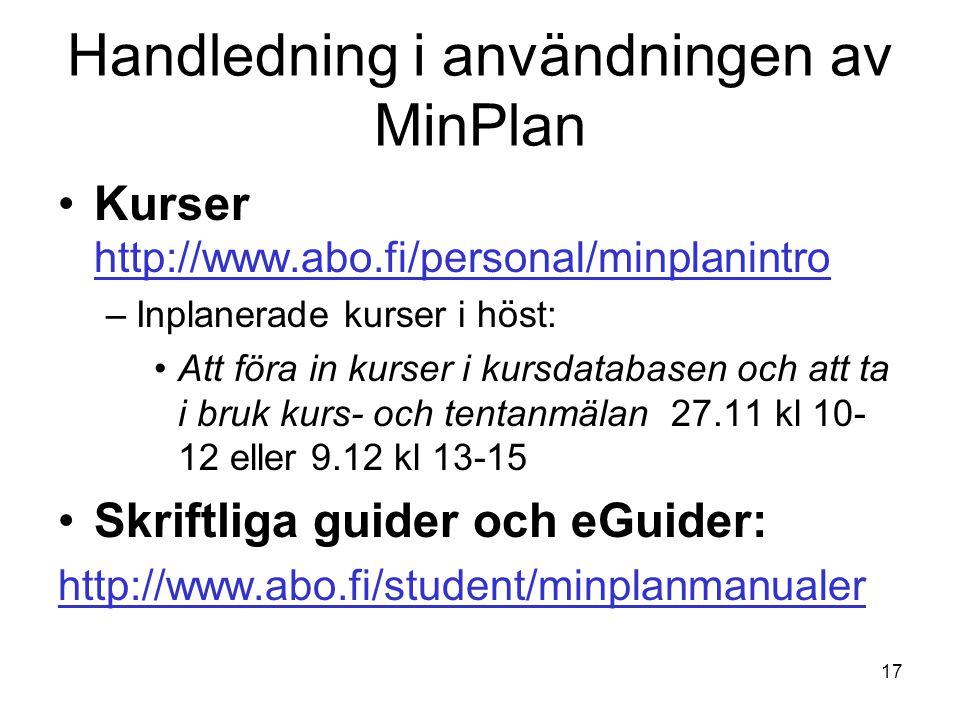 Handledning i användningen av MinPlan