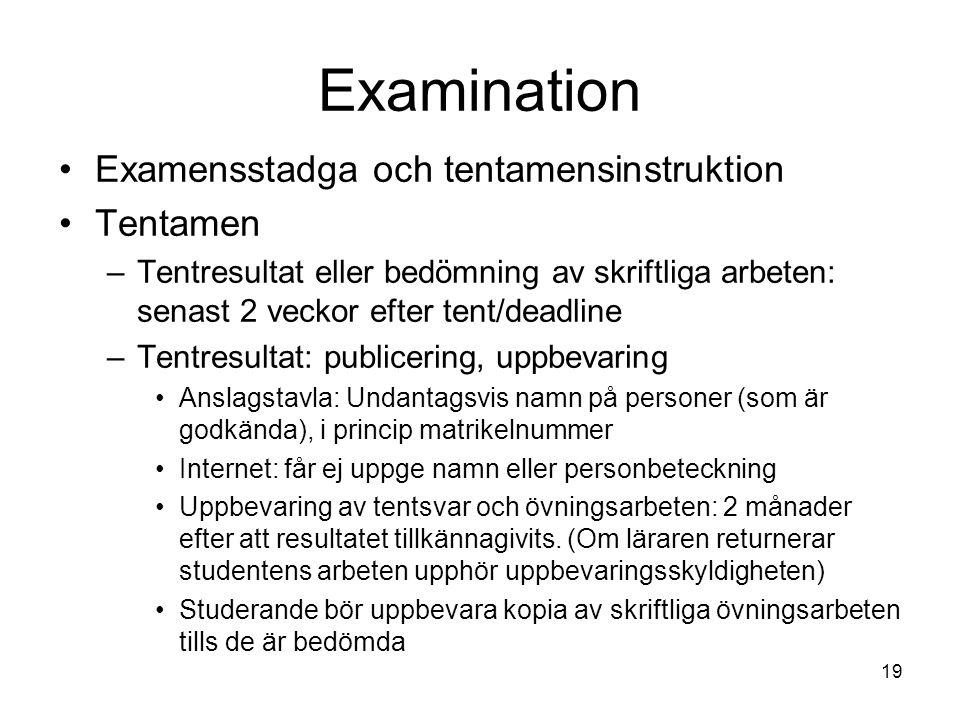 Examination Examensstadga och tentamensinstruktion Tentamen