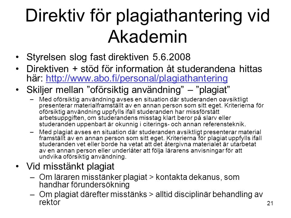 Direktiv för plagiathantering vid Akademin