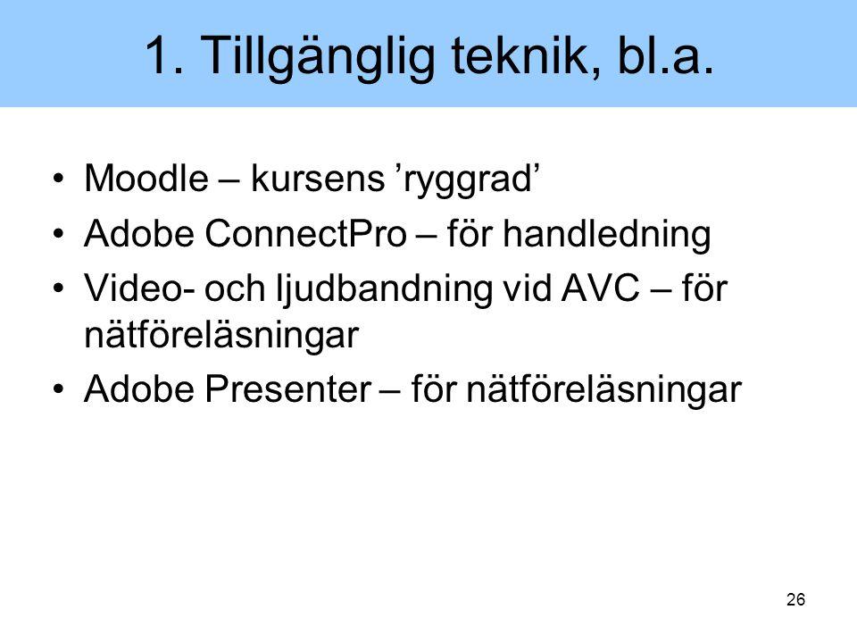 1. Tillgänglig teknik, bl.a.