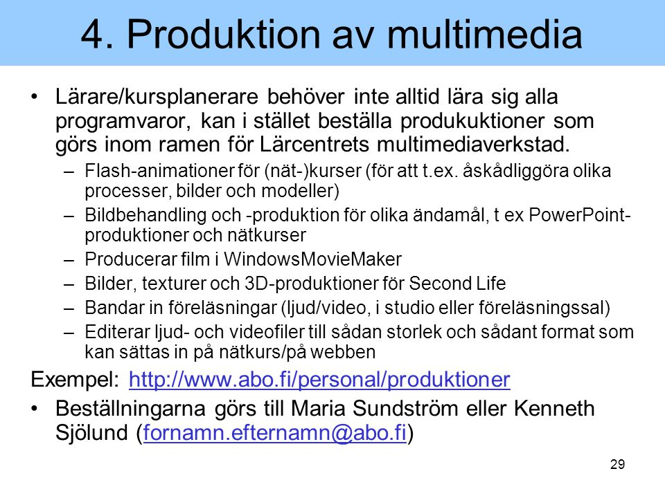 4. Produktion av multimedia