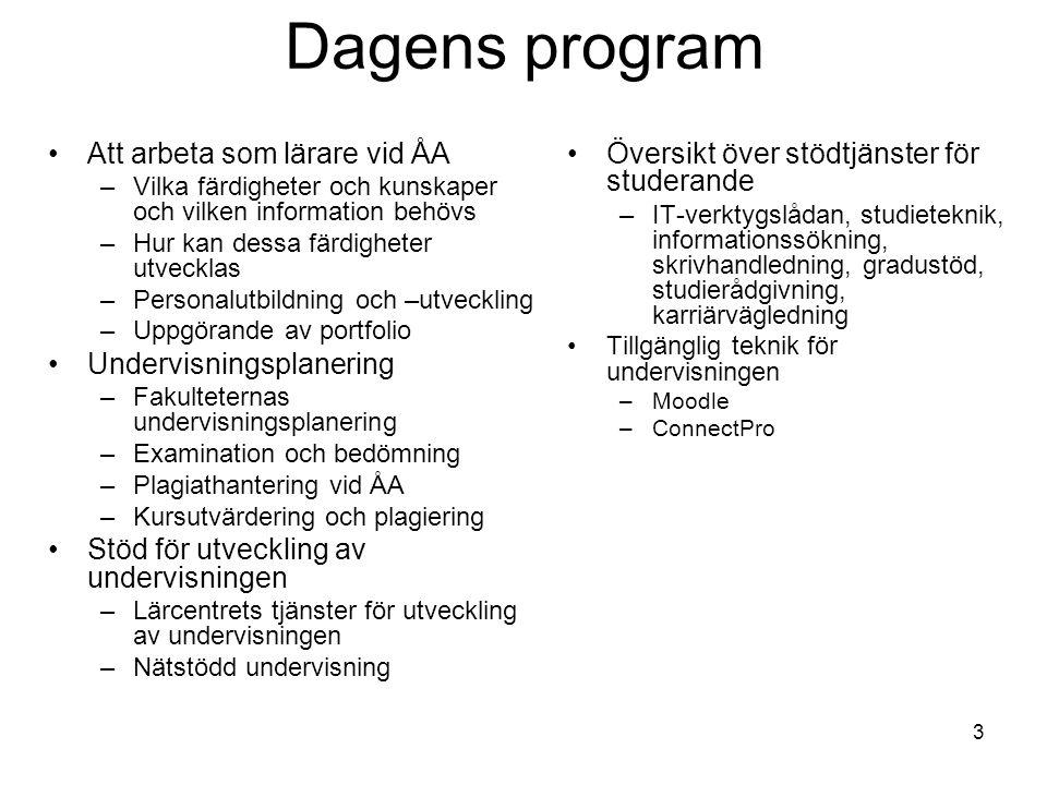 Dagens program Att arbeta som lärare vid ÅA Undervisningsplanering