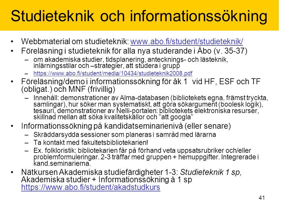 Studieteknik och informationssökning