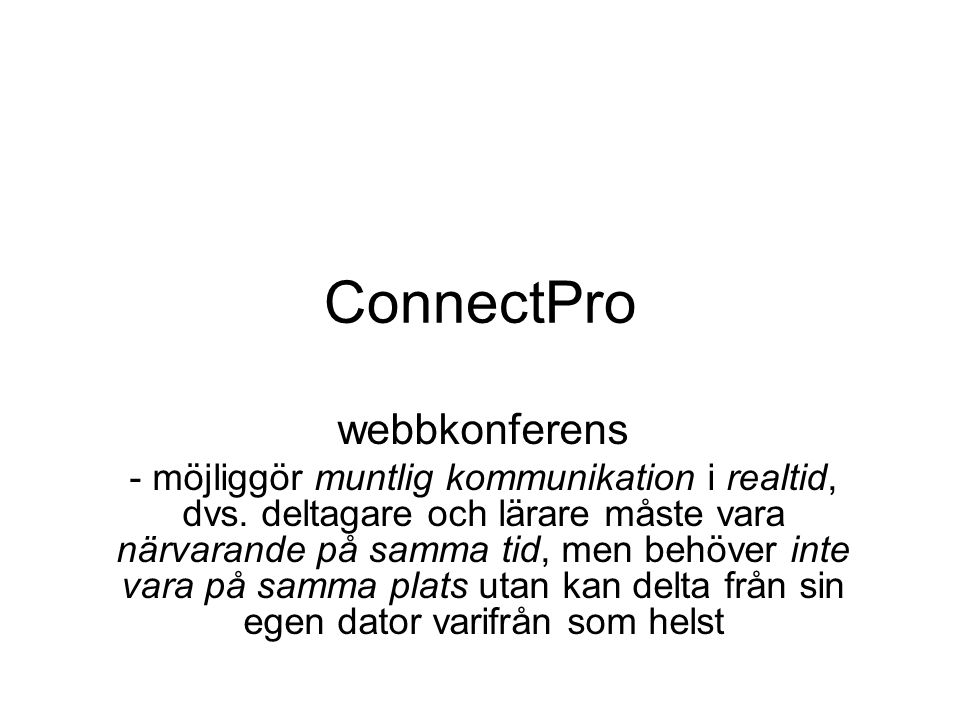 ConnectPro webbkonferens