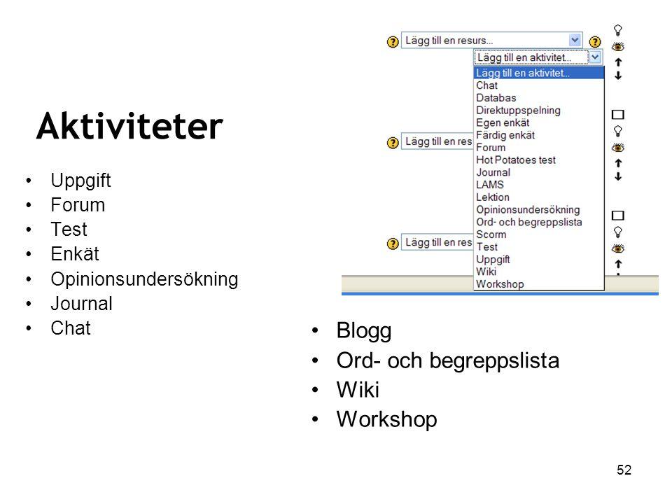 Aktiviteter Blogg Ord- och begreppslista Wiki Workshop Uppgift Forum