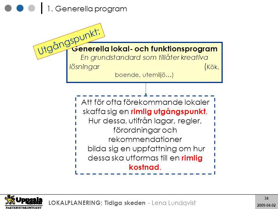 Utgångspunkt: 1. Generella program