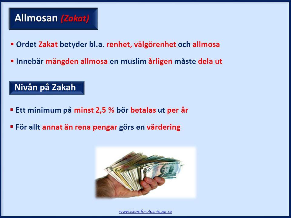 Allmosan (Zakat) Nivån på Zakah