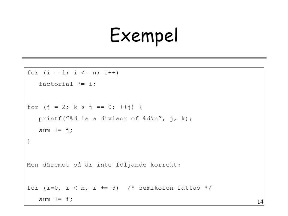Exempel for (i = 1; i <= n; i++) factorial *= i;