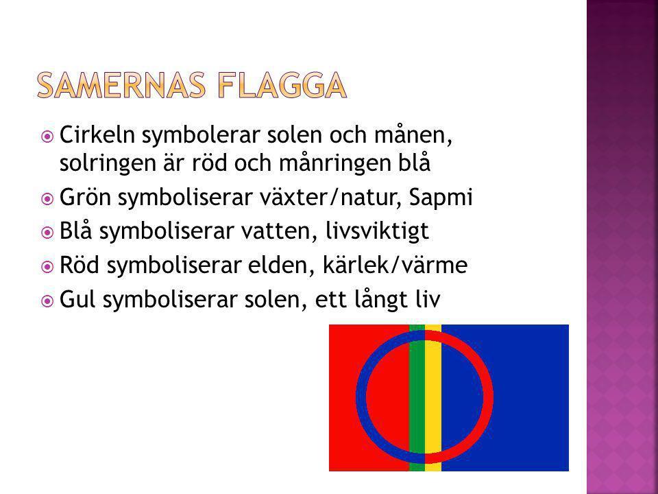 Samernas flagga Cirkeln symbolerar solen och månen, solringen är röd och månringen blå. Grön symboliserar växter/natur, Sapmi.