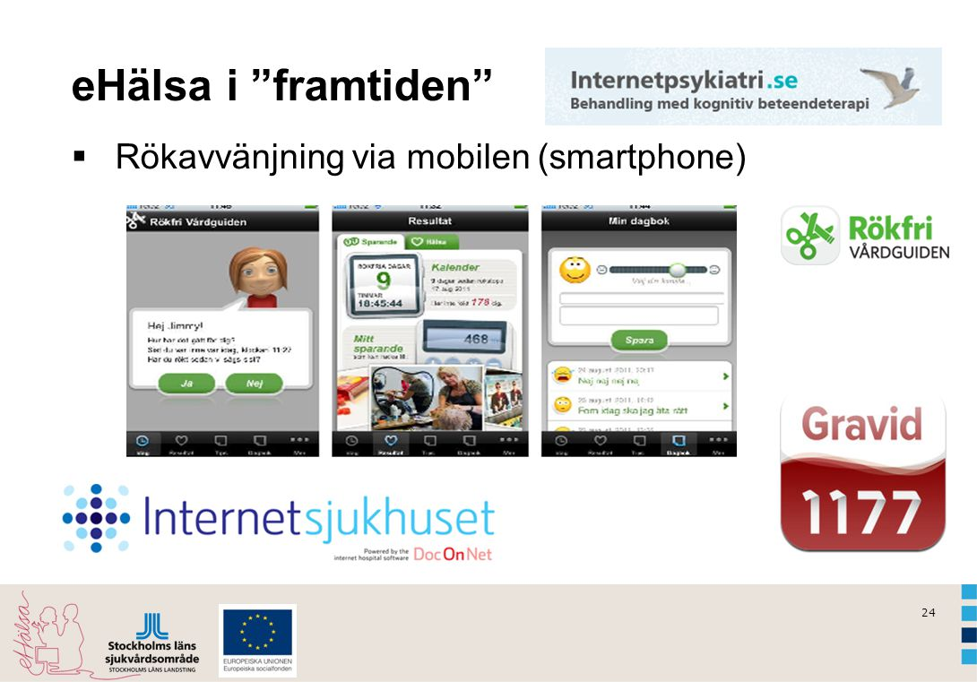 eHälsa i framtiden Rökavvänjning via mobilen (smartphone) Dialog: