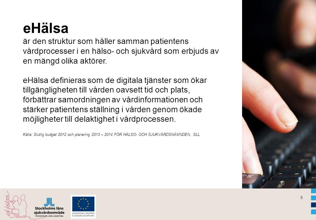 eHälsa är den struktur som håller samman patientens vårdprocesser i en hälso- och sjukvård som erbjuds av en mängd olika aktörer. eHälsa definieras som de digitala tjänster som ökar tillgängligheten till vården oavsett tid och plats, förbättrar samordningen av vårdinformationen och stärker patientens ställning i vården genom ökade möjligheter till delaktighet i vårdprocessen.
