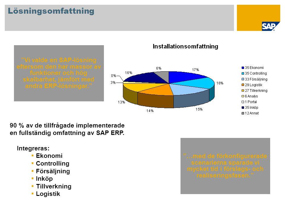 Lösningsomfattning Vi valde en SAP-lösning eftersom den har massor av funktioner och hög skalbarhet, jämfört med andra ERP-lösningar.