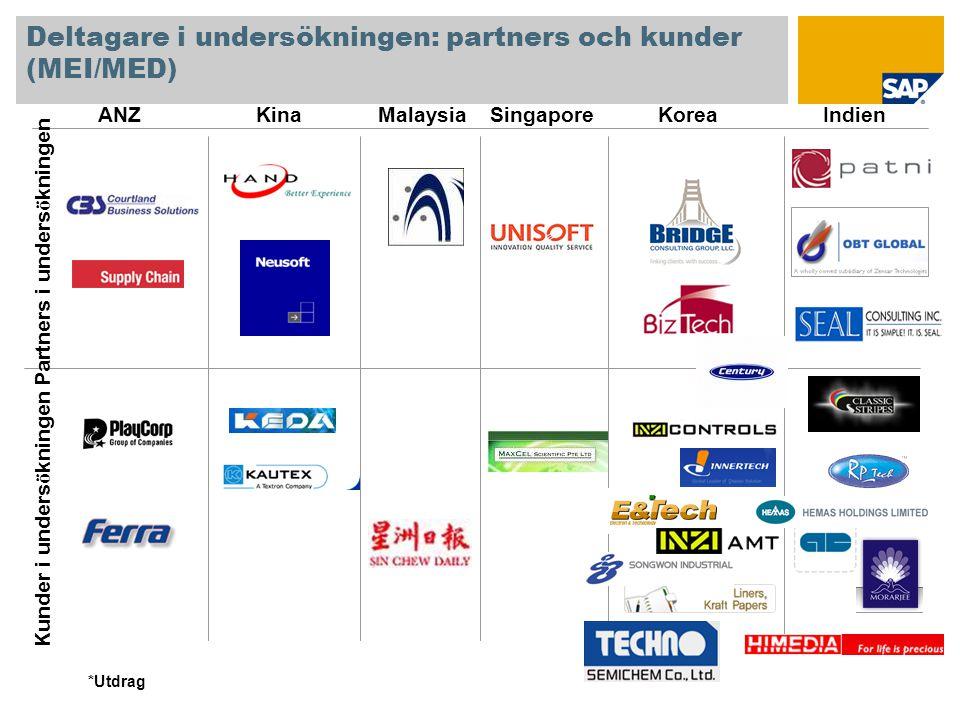 Deltagare i undersökningen: partners och kunder (MEI/MED)
