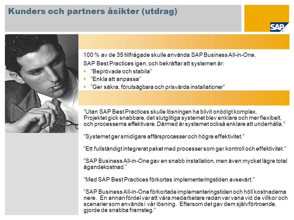 Kunders och partners åsikter (utdrag)