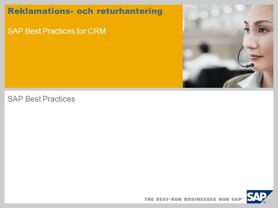 Reklamations- och returhantering SAP Best Practices for CRM