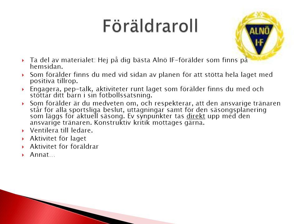 Föräldraroll Ta del av materialet: Hej på dig bästa Alnö IF-förälder som finns på hemsidan.