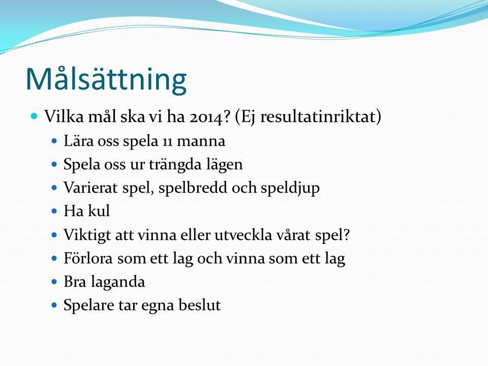 Målsättning Vilka mål ska vi ha 2014 (Ej resultatinriktat)